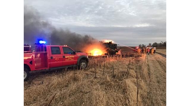 Combine catches fire during harvest near Wilton
