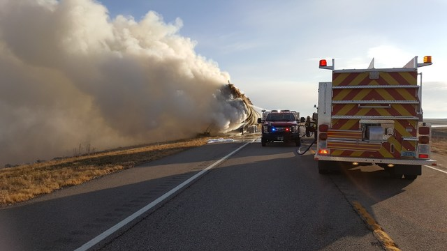 Truck With Hay Bales Ablaze on ND Highway