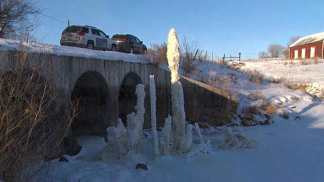 Mysterious structure sprouts from the Maple River