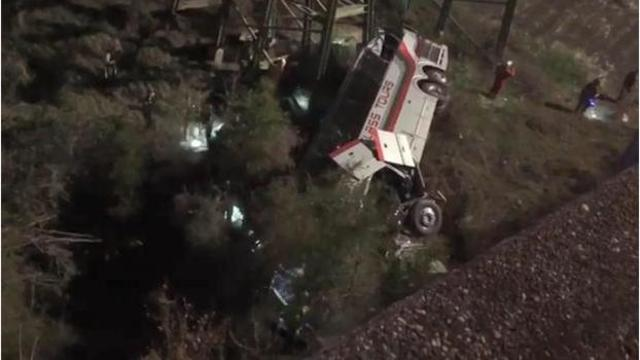 Charter bus carrying students plunges into ravine