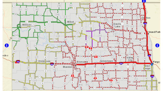 I-94 from Bismarck to Fargo closed; I-29 north from Fargo closed; Highway 2 also